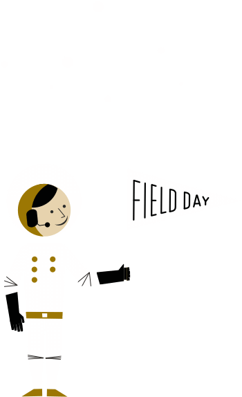 Astronaught holding field day flag